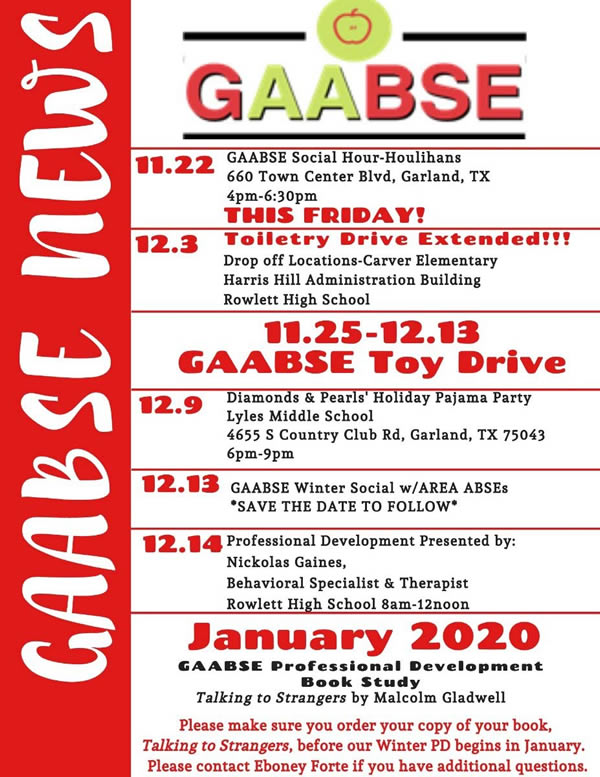 GAABSE Calendar of Events